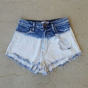 Ombre dipped Denim Shorts Distressed